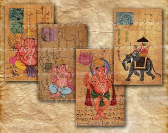 India Old Postcards Stamps Elephants Asia Post Backgrounds Decoupage Journaling Digital Collage Sheet Instant Download 051