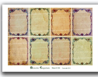 Victorian Floral Borders Shabby Chic Antique ATC ACEO Grunge Tags Decoupage Backgrounds Journaling Printable  Collage Sheet Download 306