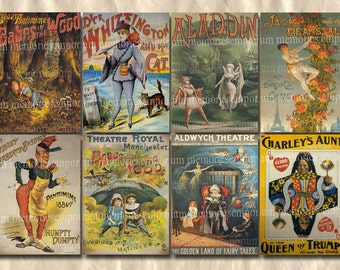 Pantomime Theatre Posters 2.5 inches x 3.5 inches Antique Backgrounds ATC ACEO Digital Collage Sheet Download 093