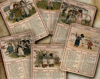 Antique Calendar Almanac English Victorian Children Cards Digital Collage Sheet Download 1884 Decoupage Shabby Chic Printable Download 348