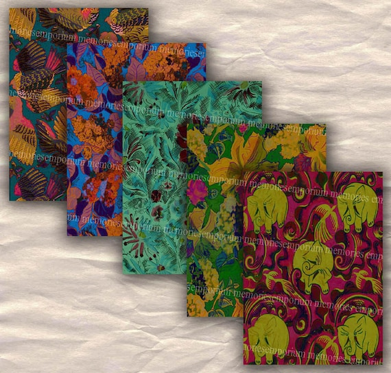 French Fashion Fabric Art Deco Designs Backgrounds Aceo Atc Size, 2.5 x 3.5, Digital Collage Sheet Printable Download 141