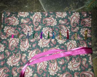 Crochet Hook Organizer/ Holder - Holds 12 hooks - Hunter Green Maroon Paisley