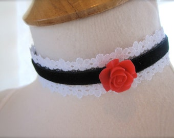 Black White Red Rose Flower necklace. Lace choker black velvet Collar. bridesmaids Jewelry Gift. Shabby chic victorian Vintage Style.
