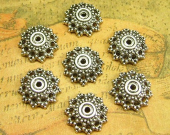 50 pcs Antique Silver Bead Caps 12mm Jewelry Making CH1477
