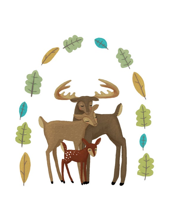 Items Similar To Forest Friends Nursery Art Print Deer