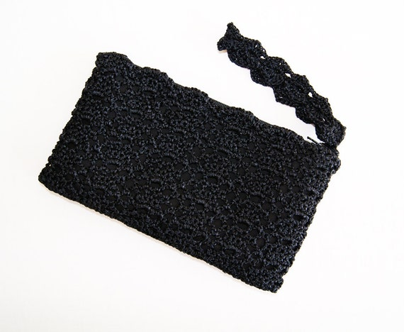 Clutch Bag Crochet : Wristlet Clutch Bag - Crochet Clutch Bag - Black Formal Clutch Bag ...