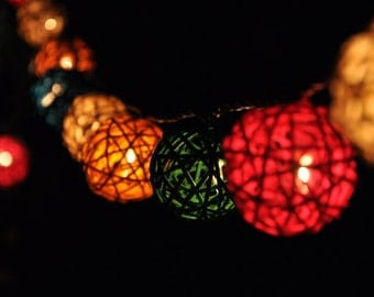 35 Bulbs Mixed colour Rattan ball string lights for Patio,Wedding,Party and Decoration