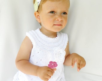 Hand knitted  baby dress, white baby dress, christening dress, cotton baby dress, 0-3 months, CUSTOM