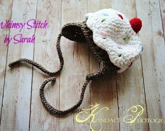 Handmade Crochet Cupcake Hat--Photo-Prop--Newborn size