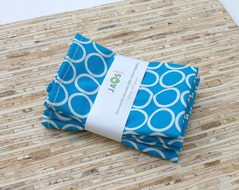 Small Cloth Napkins - Set of 4 - (N868s) - Aqua Circle Modern Reusable Fabric Napkins