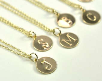 Gold Letter Necklace, in 14K Yellow Gold fill, Personalized, Antique Typewriter Font, Kristin Noel Designs