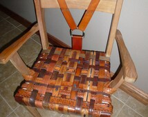 Upcycled Chair Leather Chair One of a Kind Chair  Hand Crafted Furniture  Antique Furniture