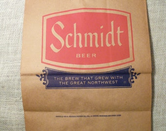 Schmidt Beer Bag Collectible Beer Item  Beer Advertisment  Schmidt Ephemera Man Cave Beer Memorbelia