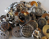 100 Bulk Silver Multi Size and Shape Buttons