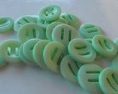 26 Mint Green Thick Ribbon Slide Round Buttons Size 7/8""