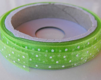 Lime Green Polka Dot Organza Ribbon 5 Yards
