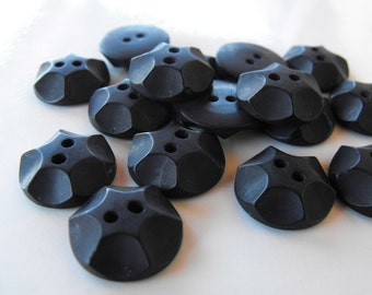 24 Black Rock Round Buttons Size 11/16""