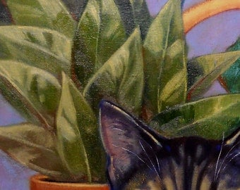 Multi color Tabby Cat, houseplants, checkered floor tile subject of oil painting on canvas. Pet commissions available