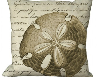 Off Centered Sand Dollar Pillow Cover in Choice of 14x14 16x16 18x18 20x20 22x22 24x24 26x26 inch Pillow Cover