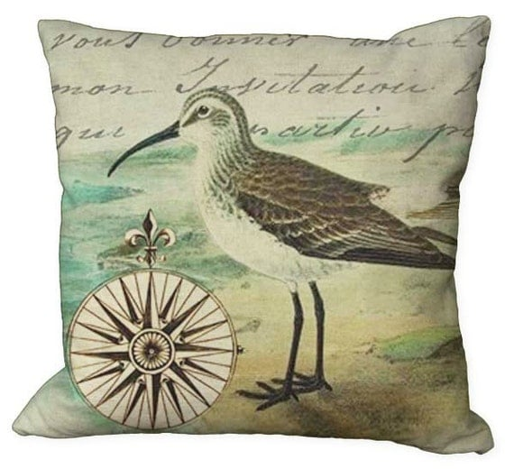 Burlap or Linen Sea Bird and Nautical Compass in Choice of 14x14 16x16 18x18 20x20 22x22 24x24 26x26 inch Pillow Cover