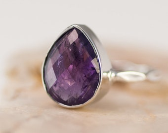 Purple Amethyst Ring Silver - February Birthstone Ring - Gemstone Ring - Stacking Ring - Sterling Silver Ring - Tear Drop Ring