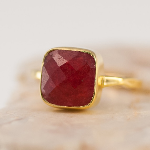 Gold Ruby Ring - July Birthstone Ring - Solitaire Ring -  Gemstone Ring - Stacking Ring - Gold Ring- Cushion Cut Ring - Mother's Ring