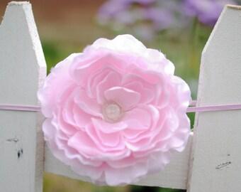 Baby Pink XL Ruffle Ranunculus Flower Headband with Rhinestone Center --Newborn - 6 Month Photography Baby Prop