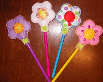 In The Hoop Felt Flower Pencil Topper Embroidery Machine Design