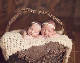 Baby Headband- Newborn Headband- Ivory Beaded Trim on White Skinny Elastic Headband