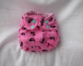 Sweet Birdies Pink Fitted Diaper Size Small