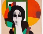 """Vintage Lithograph """"Femme au Fond Beige"""" - Andre Minaux 1965"""
