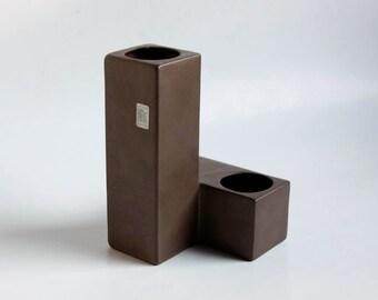 Mid Century Brown Cor Unum Vase (4)  - Dutch Pottery c.70s 80s
