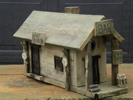 Bird house cabin bar office rustic primitive recycled for Primitive cabins for sale