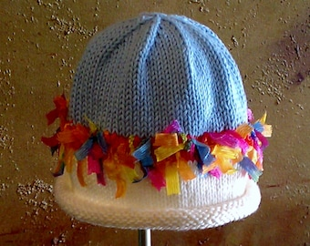 PDF PATTERN: Miss Muffet Hand Knit Hat For Infants, Toddlers & Children