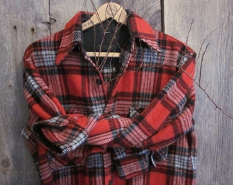 Vintage Unisex Red and Black Plaid Wool Shirt Wards  Size Small