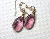 Dangle Earrings, Pink Earrings, Swarovski Elements Crystals, Antique Pink, Gold Vermeil Bails,  Women's Jewelry