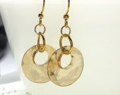 Dangle Earrings, Swarovski Elements Golden Crystal Victory Pendant Earrings, Drop Earrings, Women's Jewelry