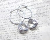 Hoop Earrings with Clear Faceted Glass Teardrops, Sterling Silver Hoops. Rhodium Plated Drops, Women's Jewelry