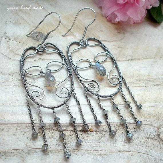 Sterling Fine Silver Earrings - Silver Wire Wrapped Earrings - Dangle Labradorite Earrings - Dangle Chain Earrings -Oxidized Silver Earrings
