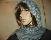 Gray Hooded Scarf  Stunning Silky Gray Hood Scarf all in One Very Elegant  Hand Crochet