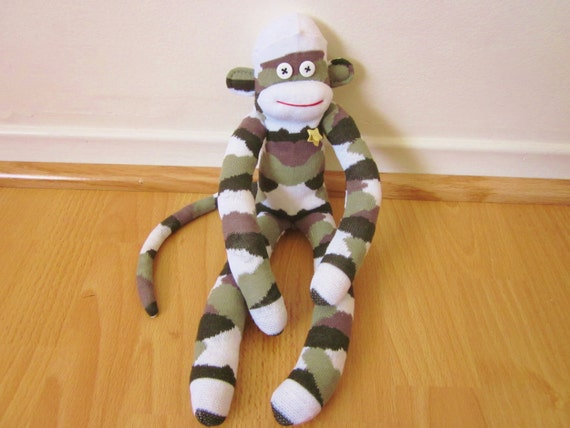 Camouflage sock monkey plush doll - white with dark green, brown, and olive - camo plush toy