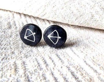 Arrow posts- Arrow earrings- Chalkboard- Black white earrings- Arrow to the Heart Stud Earrings- Bow And Arrow Ear Studs - Valentine jewelr
