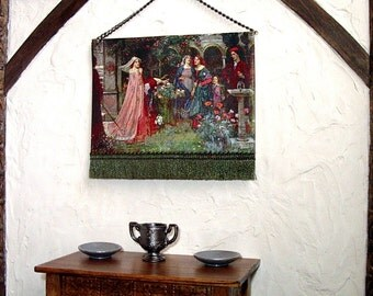 Enchanted Garden, Medieval Tapestry, Dollhouse Miniature 1/12 Scale, Hand Made
