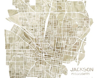 Jackson Mississippi 8x8 print watercolor map