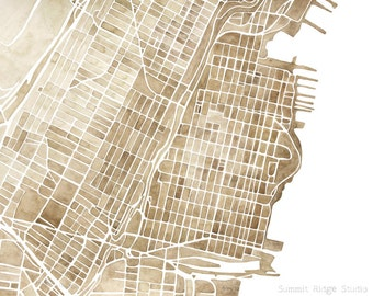 Hoboken New Jersey 5x7, 8x10, 11x14, 12x16 print watercolor map