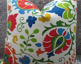 SALE Designer Pillow Cover - 10 x 20, 12 x 16, 12 x 18, 16 x 16, 18 x 18 - Outdoor Suzani Bud Multi -
