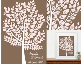 Wedding Tree Guest Book -  printed artistic poster - for 50-150 signs