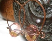 Copper Hoop Earrings with Pink Glass Beads hammered copper