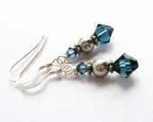 Navy Blue and Gray Drop Earrings, Dark Blue Earrings, Gray Pearl and Blue Crystal Earrings, Swarovski Pearl and Crystal Jewelry