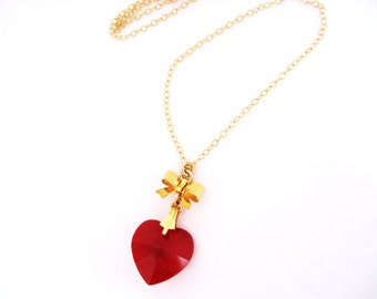 Red Heart Pendant Necklace, July Birthstone Jewelry, Red Heart and Bow on 14K Gold Filled Necklace, Romantic Red Heart Jewelry